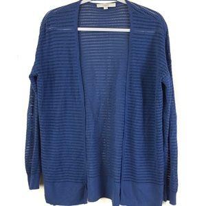 Silk Blend Eyelet Knit Blue Open Front Cardigan